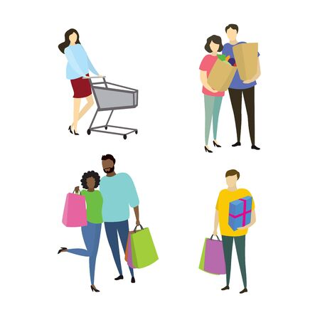 Different people buyers with shopiing bags,shopping concepts collection in trendy style,vector illustration flat design