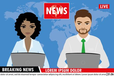 TV news anchors reporting breaking news,Man and woman news ancho