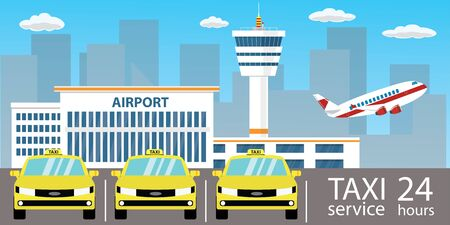 Yellow cars -taxi service,Airport buildings, control tower, runway and take-off modern aircraft,flat vector illustration