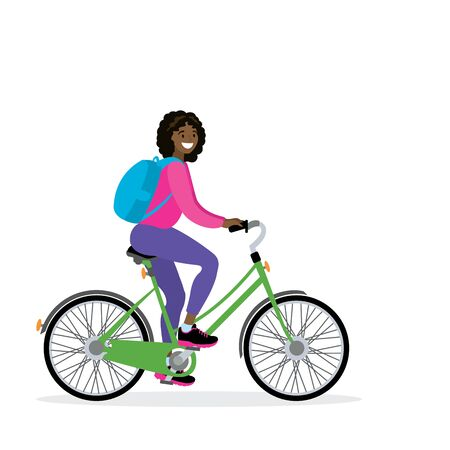 Happy african american female bicyclist with backpack, isolated on white background,flat vector illustration Ilustracja