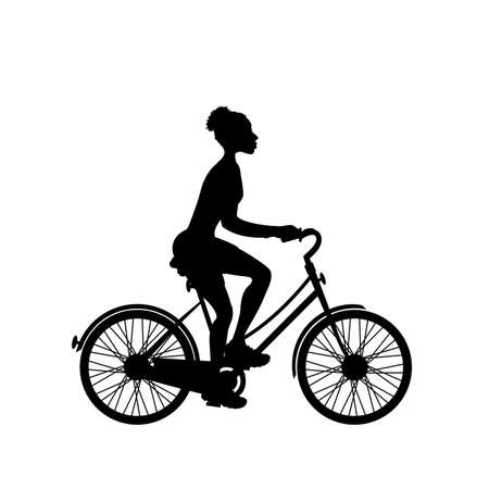 Female biker silhouette,isolated on white background illustration