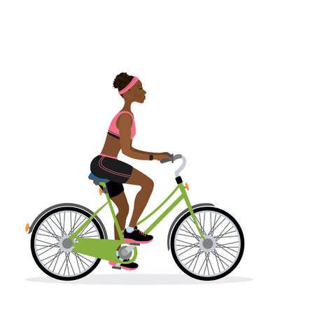 African female bicyclist, isolated on white background,flat illustration