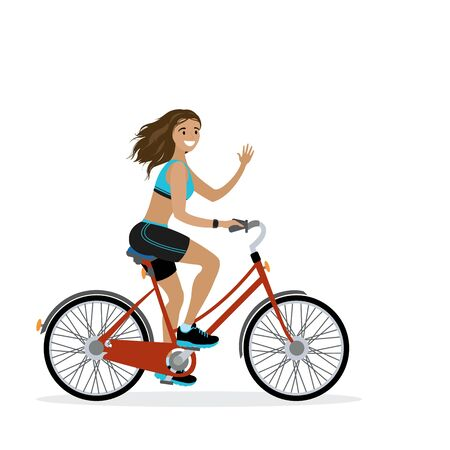 Happy caucasian female bicyclist, isolated on white background,flat vector illustration