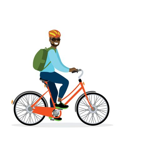 Happy african american male bicyclist with backpack, isolated on white background,flat vector illustration