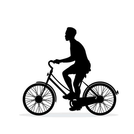 Male biker silhouette,isolated on white background illustration