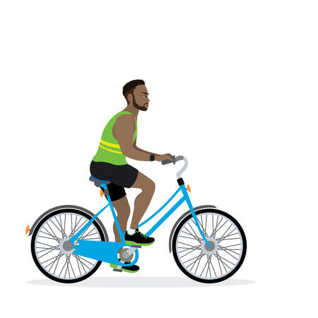 Happy american male bicyclist, isolated on white background,flat illustration