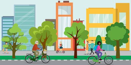 Cyclists on the city street,eco urban life concept,outdoor flat vector illustration Ilustracja