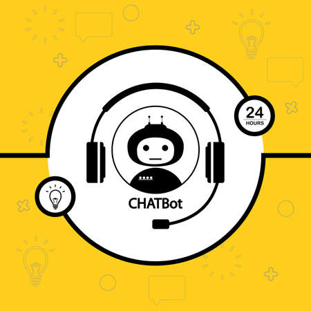 Chatbot concept background,black and white robot and headphones in circle,vector illustration