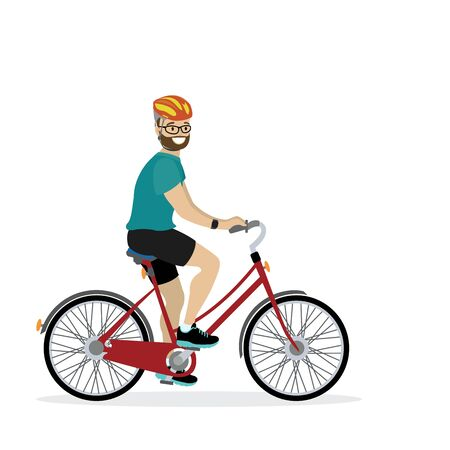 Happy caucasian male bicyclist, isolated on white background,flat vector illustration