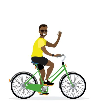 Happy african american male bicyclist, isolated on white background,flat vector illustration