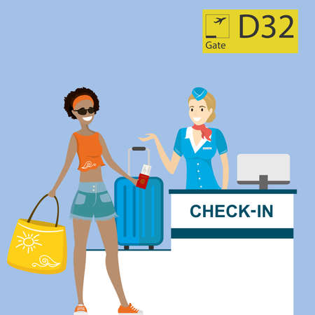 People in airport at registration desk. Vacation and travel concept.flat Vector illustration.