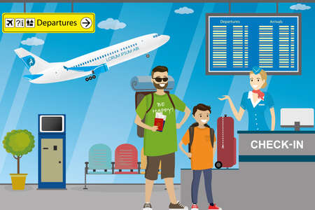 People in airport,check-in desk with happy woman, terminal furniture and interior,airplane takeoff,flat vector illustration