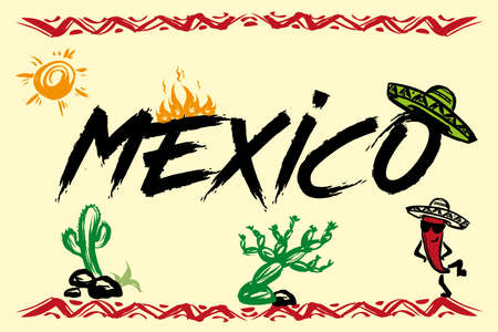 Funny mexico background with traditional symbols,hand drawn vector illustration