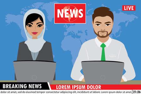 Arabic TV news anchors reporting breaking news,Muslim Man and woman news anchors,flat vector illustration Векторная Иллюстрация