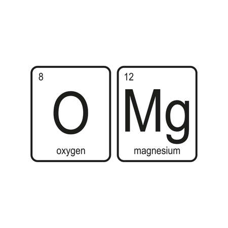 OMG – Oxygen and Magnesium,funny phrase on white background,vector illustration