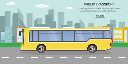 public transport concept,yellow city bus on empty road,outdoor flat vector illustration