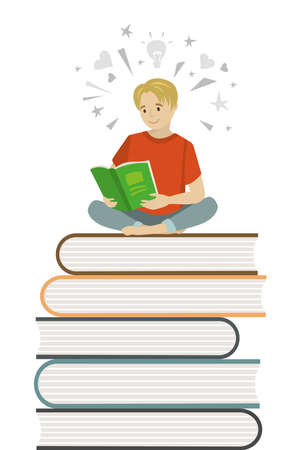 Cartoon boy teen sitting on books and read book,learning process concept,flat vector illustration