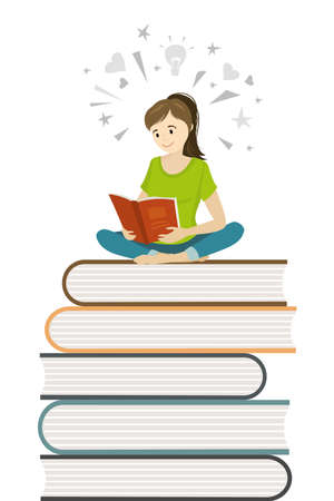 Cartoon girl teen sitting on books and read book,learning process concept,flat vector illustration Illusztráció