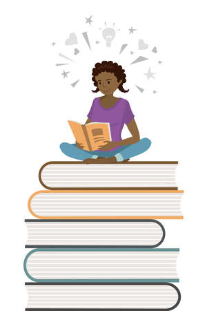 African american female teenager read books,learning process concept,isolated on white background ,flat vector illustration