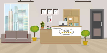 Modern empty hotel reception interior with furniture.Flat style vector illustration