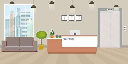 Modern empty reception interior with furniture.cartoon vector illustration