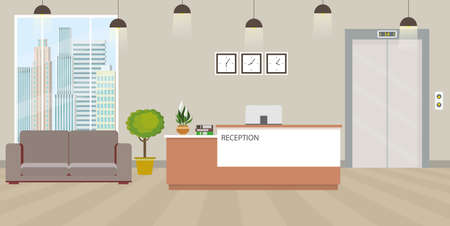 Modern empty reception interior with furniture.cartoon vector illustration