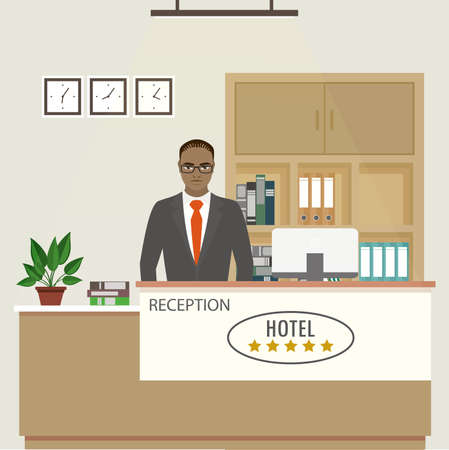 Reception interior with furniture and african american male receptionist employee.Flat vector illustration