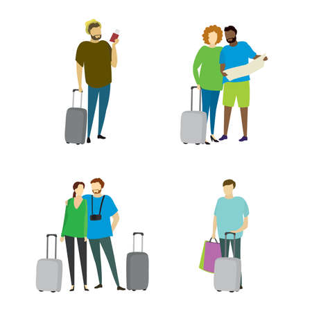 Different people travelers with suitcases,travel concepts collection in trendy style,isolated on white background,vector illustration flat design. Illusztráció