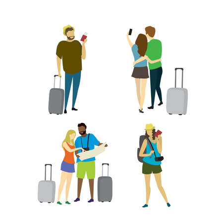 Different people travelers with suitcases,travel concepts collection in trendy style,isolated on white background,vector illustration flat design