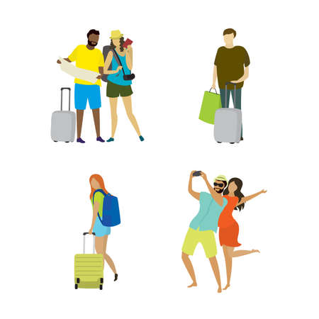 Different people travelers and vacationers with suitcases,cellphones,travel and holidays concepts collection in trendy style,characters in different poses,isolated on white background,vector illustration flat design Illusztráció