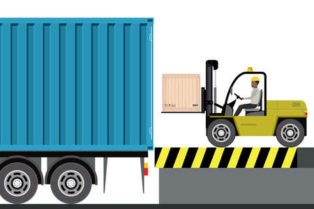 African american warehouse worker loading wooden boxes in long truck with container. Forklift driver at work in storehouse,flat vector illustration