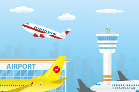 Airport buildings, control tower,different runway and take-off modern airplanes,flat vector illustration Векторная Иллюстрация