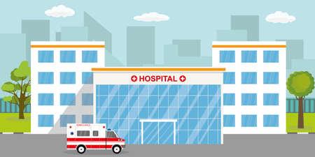Ambulance car,modern hospital or clinic building,flat vector illustration. Vecteurs
