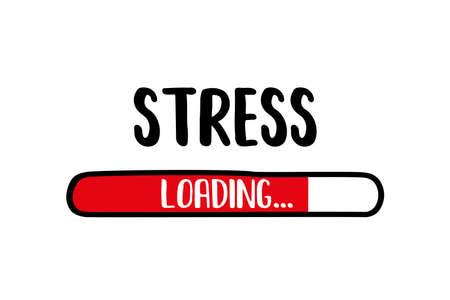 Doodle Red Download bar,stress loading text, vector illustration