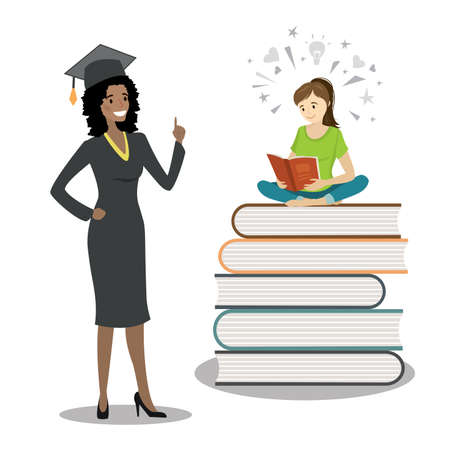 Happy african american female graduate in cloak and graduation cap and female teenager sitting on books and reading. Concept of education.Isolated on white background, flat Vector illustration.