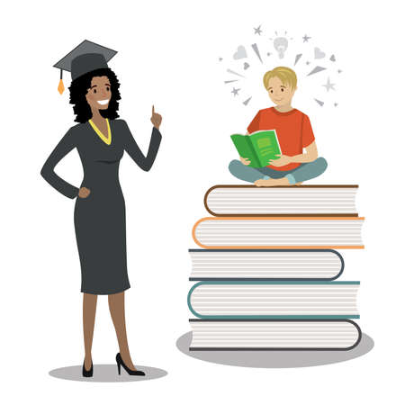Happy african american female graduate in cloak and graduation cap and male teenager sitting on books and reading. Concept of education.Isolated on white background, flat Vector illustration.