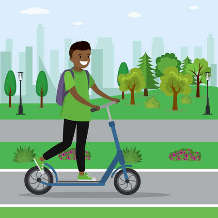 African american boy on a scooter,active teenager in park,flat vector illustration