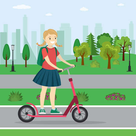 Caucasian girl on a scooter,active teenager in park,flat vector illustration