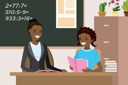 African american Woman teacher tutor,tutoring girl kid at school,female helping girl with homework, isolated on white background,flat vector illustration