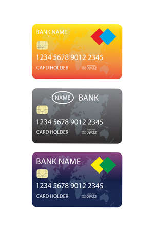 Three credit cards,isolated on white background,vector illustration