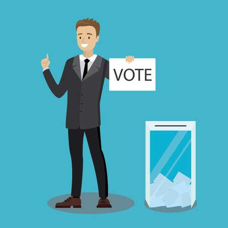 Caucasian businessman vote at transparent ballot box,flat vector illustration