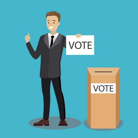 Caucasian businessman vote at ballot box,flat vector illustration 矢量图像