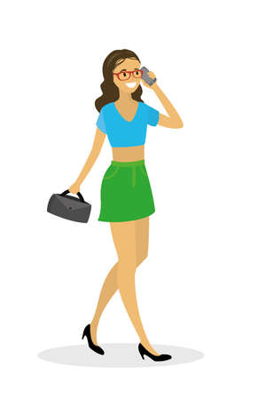 Beautiful fashionable woman walking and talking on the phone,isolated on white background,flat vector illustration