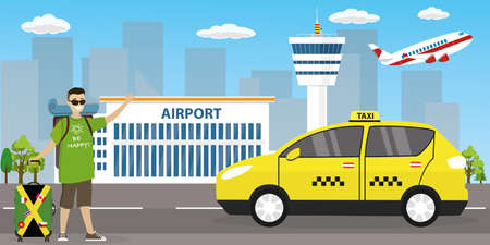 Airport buildings, control tower,caucasian male with luggage catch taxi car,flat vector illustration