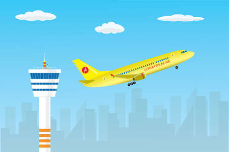 Control tower and take-off modern yellow civil airplane,city silhouette and sky on background,flat vector illustration