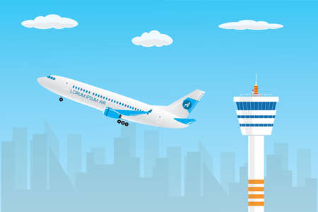 Control tower and take-off modern civil airplane,city silhouette and sky on background,flat vector illustration