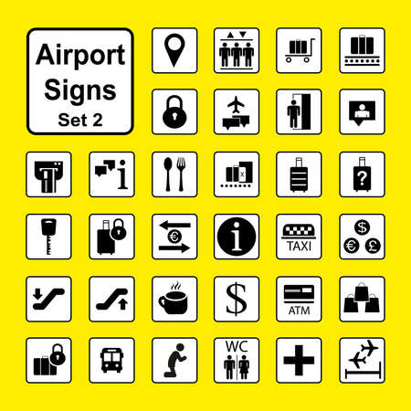 Set of Airport icons or Signs,black and white pictograms isolated on yellow background,vector illustration Illustration