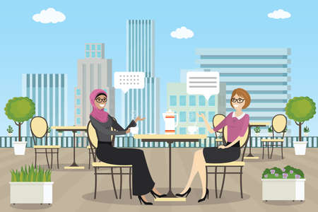 Happy female on Roof patio,summer outdoor cafe or restaurant with tables and chairs,plants,human talking,flat vector illustration