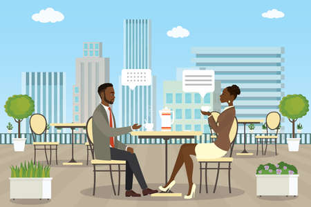 Business people on Roof patio,summer outdoor cafe or restaurant with tables and chairs,african american man and woman talking,flat vector illustration Stock Vector - 154325763