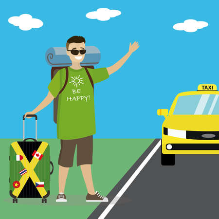 Caucasian man with suitcase hitchhiking on the roadside.Cartoon happpy male catching a taxi car by waving hand. Flat Vector illustration